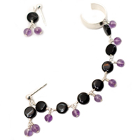 Sterling Silver Slave Earrings with Black Agate and Amethyst