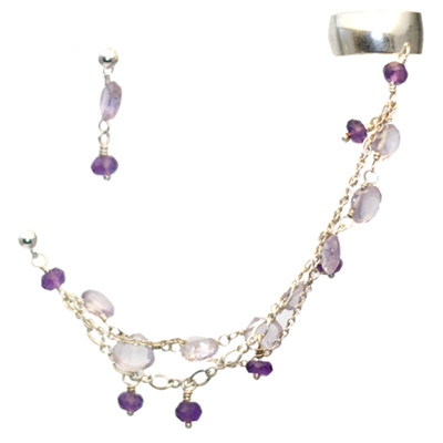 Sterling Silver Chain Slave Earrings with Amethyst
