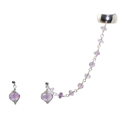 Sterling Silver Amethyst Slave Earrings :  gemstone jewelry chain maille gemstone earrings silver jewelry