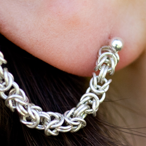 Wearing Sterling Silver Chain Maille Slave Earrings