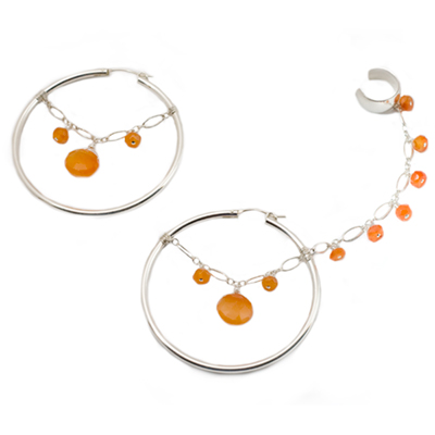 Sterling Silver Hoop Slave Earrings with Carneliant
