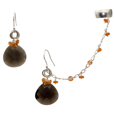 Sterling Silver Carnelian and Smokey Quartz Slave Earrings