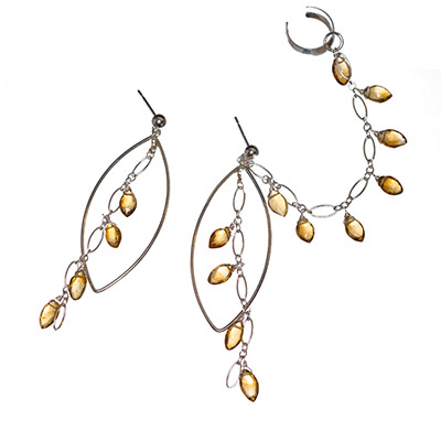 Sterling Silver and Citrine Chandelier Slave Earrings