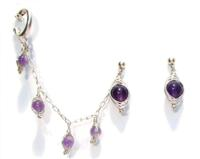Sterling Silver Slave Earrings with Herringbone-Wrapped Amethyst.