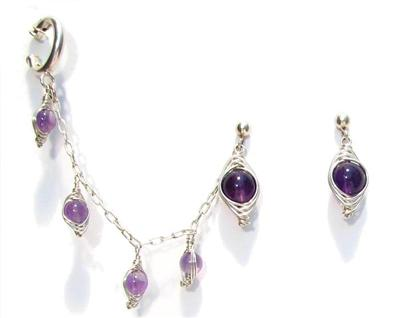 Sterling Silver Slave Earrings with Amethyst