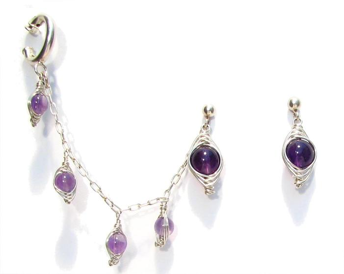 Sterling Silver Slave Earrings With Amethyst Click To Enlarge