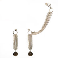 Sterling Silver Chain Maille Slave Earrings with Smokey Quartz