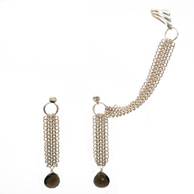 Sterling Silver Chain Maille Slave Earrings with Smokey Quartz from elena-adams.com