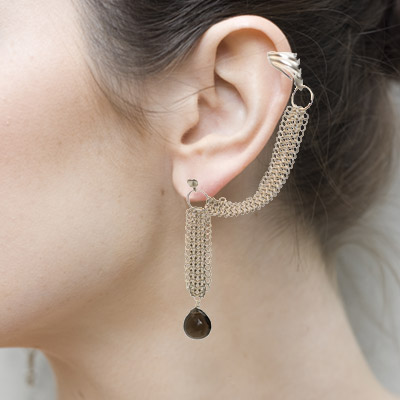 Wearing Chain Maille Slave Earrings with Smokey Quartz