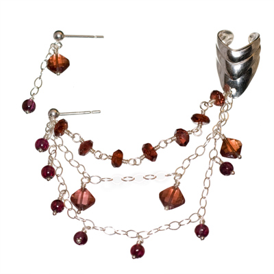 Sterling Silver Multi-Strand Garnet Slave Earrings
