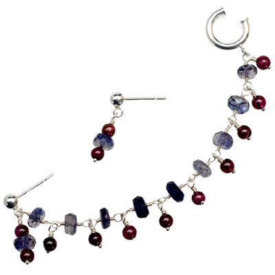 Sterling Silver Iolite and Garnet Slave Earrings from elena-adams.com