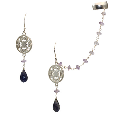 Sterling Silver Drop Slave Earrings with Iolite and Amethyst