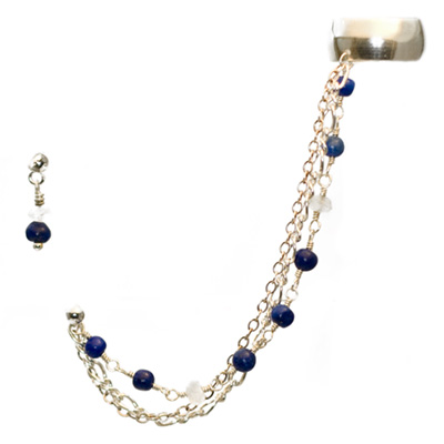 Sterling Silver Slave Earrings with Lapis Lazuli and Moonstone