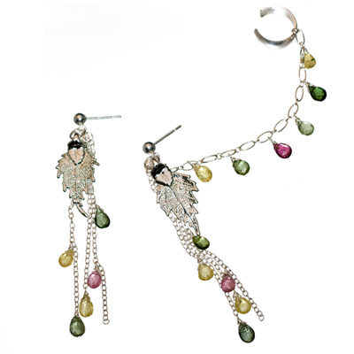 Sterling Silver Chandelier Birch Earrings with Tourmaline