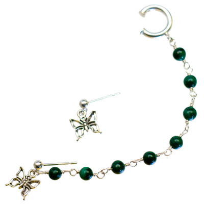 Sterling Silver Butterfly and Malachite Slave Earrings