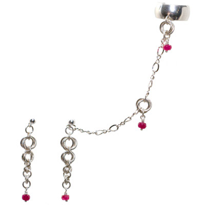 Sterling Silver Mobius Slave Earrings with Ruby