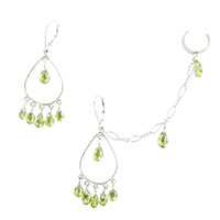 Sterling Silver Peridot Chandelier Ear Chain