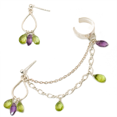 Sterling Silver Peridot and Amethyst Slave Earrings