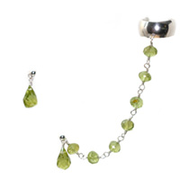 Sterling Silver Ear Cuff Chain with Peridot
