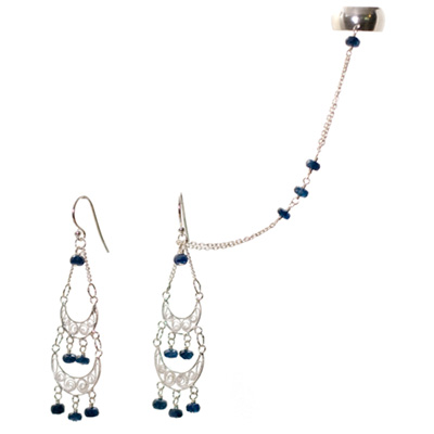 Sterling Silver and Sapphire Chandelier Slave Earrings :  gemstone jewelry sterling silver jewelry elena adams designs slave earrings