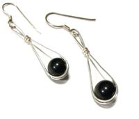 Sterling Silver Globe-Style Earrings with Onyx