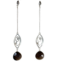 Sterling Silver Leaf Earrings with Smokey Quartz.
