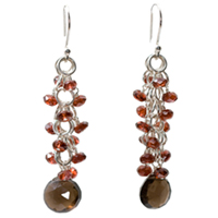 Sterling Silver, Smokey Quartz and Garnet Earrings