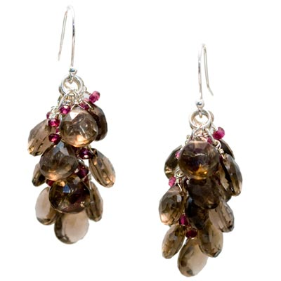Sterling Silver with Smokey Quartz and Garnet Earrings
