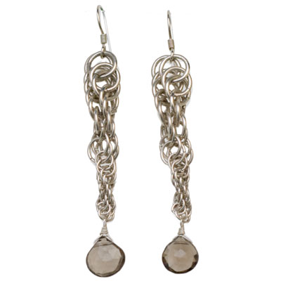 Sterling Silver Smokey Quartz Spiral Earrings