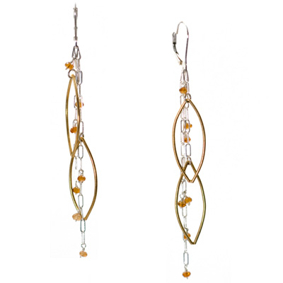 Sterling Silver and Vermeil Citrine Earrings :  gemstone jewelry handmade jewelry citrine sterling silver jewelry