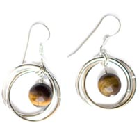 Sterling and Fine Silver Earrings with Tiger's Eye
