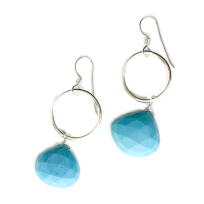 Sterling and Fine Silver Turquoise Earrings