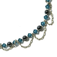 Sterling Silver Anklet with Swarovski Crystal and Hematite
