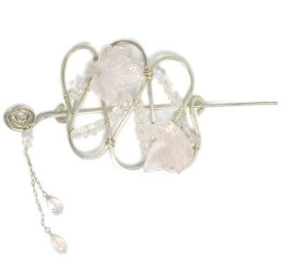 Sterling Silver Rose Quartz and Moonstone Hair Pin