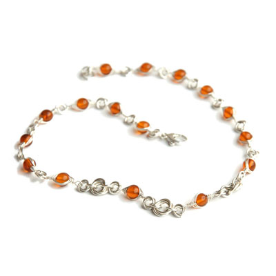 Amber Rose - Sterling Silver Amber Necklace with Mobius Knots