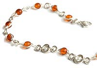 Sterling Silver Mobius Knot and Amber Necklace