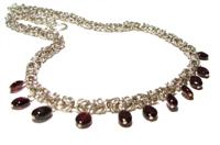 Sterling Silver Byzantine Necklace with Garnets