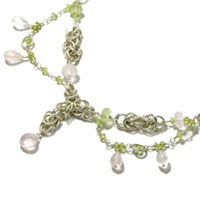 Sterling Silver Byzantine Necklace with Peridot and Rose Quartz.
