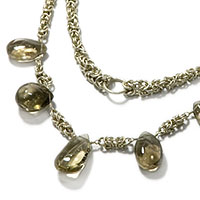 Sterling Silver Byzantine Two-Tier Necklace with Smokey Quartz