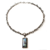 Sterling Silver Chain Maille Collar with Labradorite