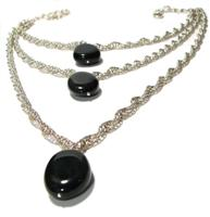 Sterling Silver, Three-Tier Double Helix and Rainbow Obsidian Necklace