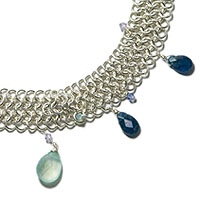 Sterling Silver European 4 in 1 Choker with Swarovski Crystal, Chalcedony and Apatite.
