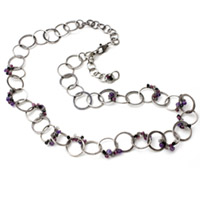 Fine Silver Looped and Gem-Studded Necklace