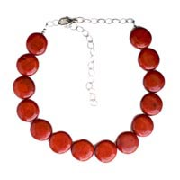 Ruby Red Fossil Stone Necklace