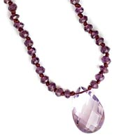 Knotted Garnet and Amethyst Necklace