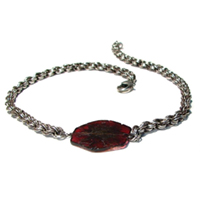 Antiqued Sterling Silver Double Spiral Weave Necklace with Raw Garnet