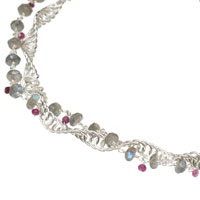 Sterling Silver Double Helix Necklace with Labradorite and Pink Sappire
