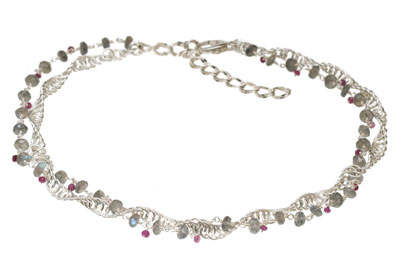 Sterling Silver Double Helix Necklace with Labradorite and Pink Sapphire