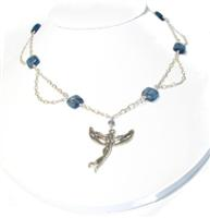 Sterling Silver and Kyanite Necklace with Fairy Pendant