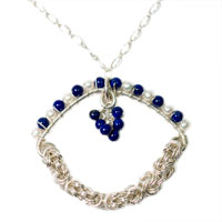 Sterling Silver Lapis Lazuli and Pearl Pendant
